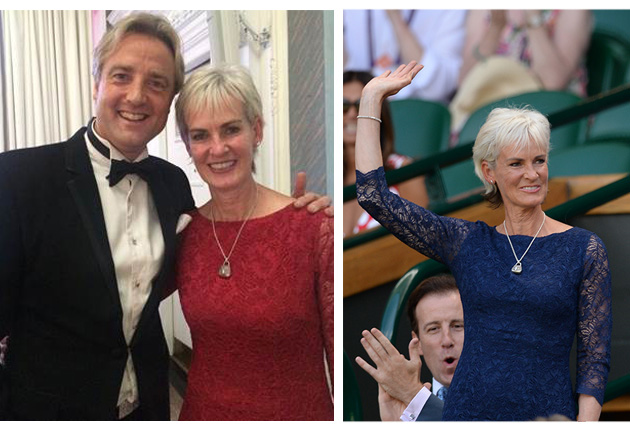 Judy Murray wearing the Katherine Lace Dress in Scarlet