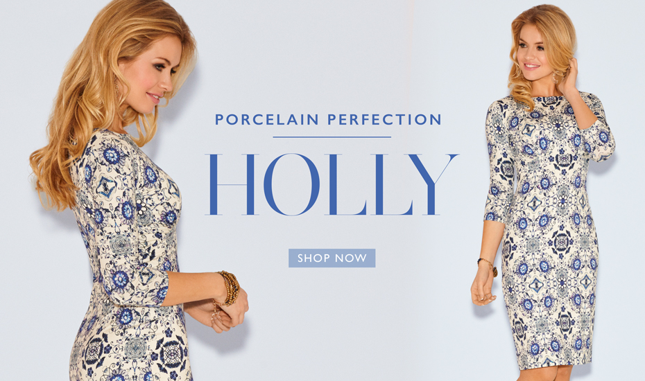 Holly Dress Short Porcelain Blue