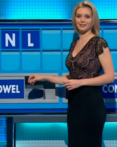 Rachel Riley wearing the Bella Shift Dress (Vintage Blush)