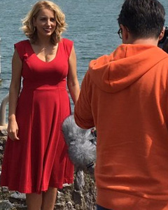 Jasmine Harman wearing the Olivia Dress (Chilli Pepper)