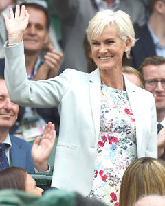 Judy Murray wearing the Pippa Shift Dress (Poppy)