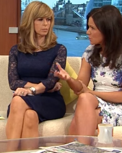 Kate Garraway wearing the Katherine Lace Dress (Midnight)