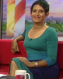 Naga Munchetty wearing the Colour Block Dress (Marine)