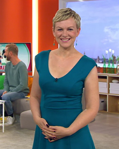 Karen Heinrich wearing the Olivia Dress (Kingfisher)