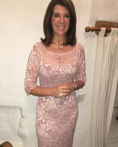 Dr Dawn Harper wearing the Lila Dress Short (Vintage Rose)