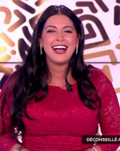 Ayem Nour wearing the Katherine Lace Dress (Scarlet)