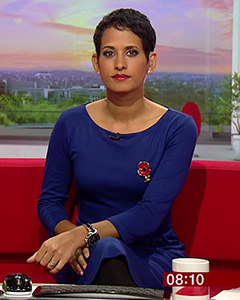 Naga Munchetty wearing the Emily Shift Dress (Deep Ultramarine)