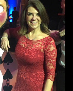 Dr Dawn Harper wearing the Katherine Lace Dress (Scarlet)