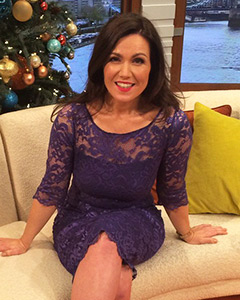Susanna Reid wearing the Lila Dress Short (Windsor Blue)