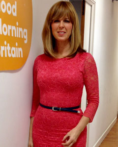 Kate Garraway wearing the Anya Spitzenkleid (Koralle)