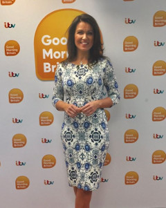 Susanna Reid wearing the Holly Dress (Porcelain Blue)