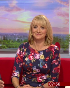 Louise Minchin wearing the Holly Dress (Midnight Garden)