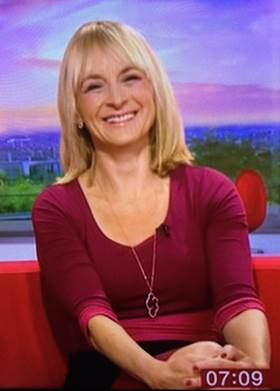 Louise Minchin wearing the Colour Block Dress (Berry)