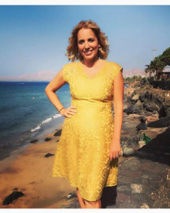 Jasmine Harman wearing the Paris Dress (Saffron Gold)