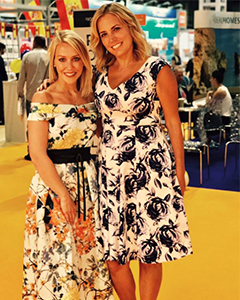 Jasmine Harman wearing the Fleur Swing Dress (Ink Blue)