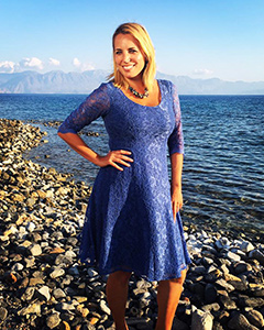 Jasmine Harman wearing the Arabella Dress (Riviera Blue)