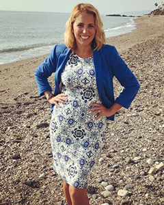 Jasmine Harman wearing the Holly Dress (Porcelain Blue)