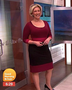 Becky Mantin wearing the Colour Block Dress (Berry)