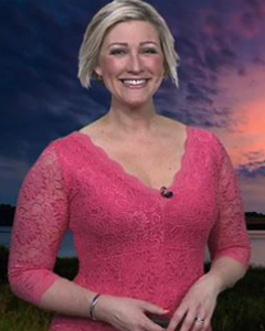 Becky Mantin wearing the Anya Lace Dress (Coralista)