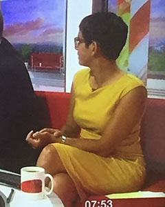 Naga Munchetty wearing the Pippa Shift Dress (Artisan Gold)