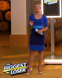 Dr Christine Theiss wearing the Colour Block Dress (Dazzling Blue)