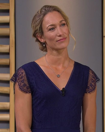 Dr Christine Theiss wearing the Bella Shift Dress (Indigo Blue)