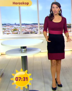 Kirsten Hanser wearing the Colour Block Dress (Berry)