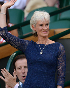 Judy Murray wearing the Katherine Lace Dress (Midnight)