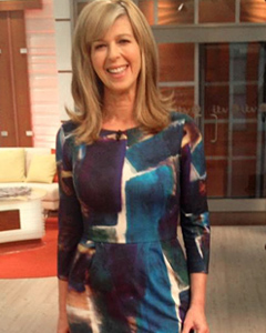 Kate Garraway wearing the Emily Shift Dress (Painterly Blue)