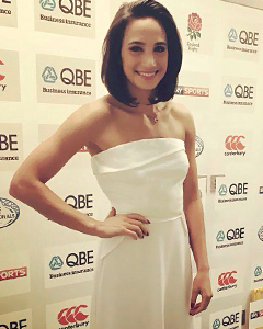 Laura Wright wearing the Victoria Gown (Ivory)