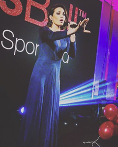 Laura Wright wearing the Jolie Gown (Eclipse Blue)