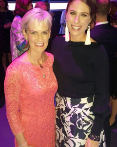 Judy Murray wearing the Aurelia Vintage Sash (Vintage Rose)