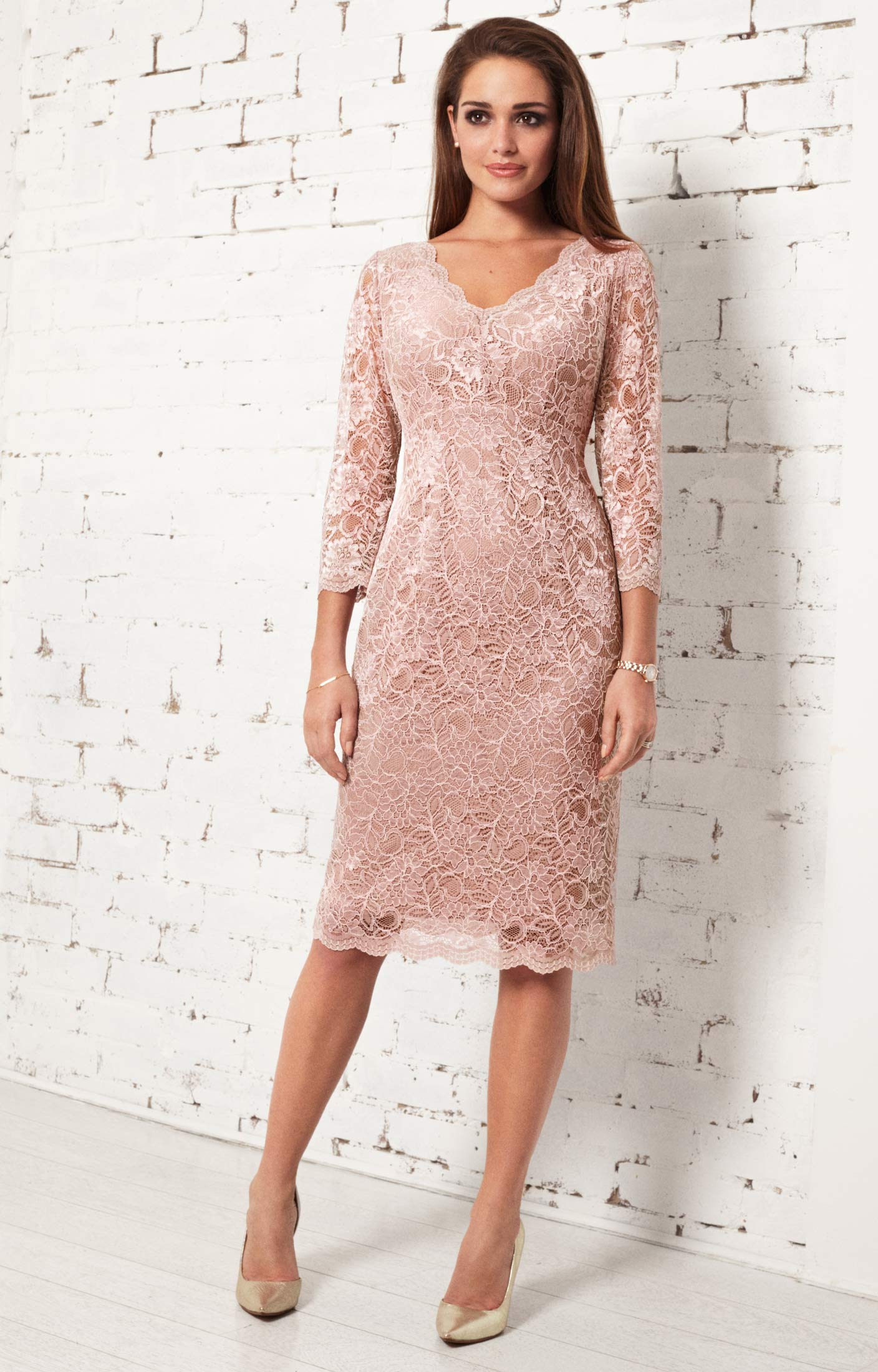 Anya lace occasion dress blush evening dresses for Cocktail dresses to wear to a wedding