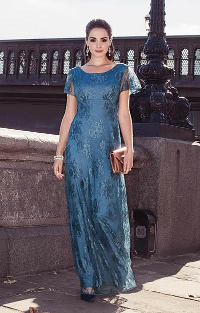Alice Evening Gown Long Lagoon Blue by Alie Street