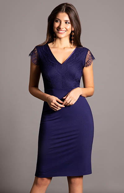 Bella Evening Shift Dress (Indigo Blue) by Alie Street