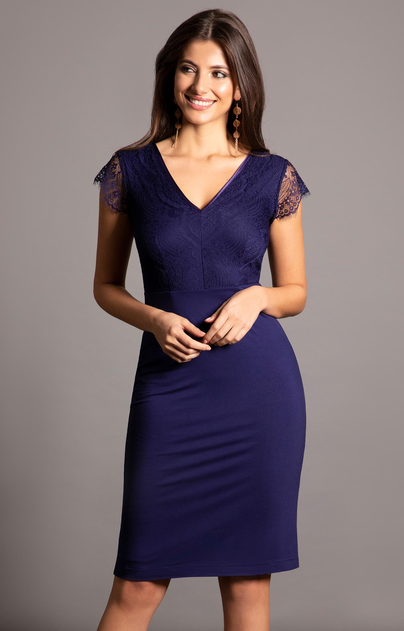 Bella Evening Shift Dress Indigo Blue Evening Dresses