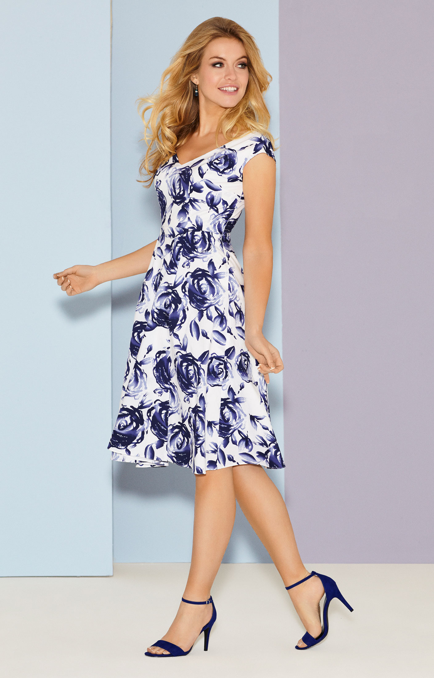 Fleur Swing Dress Short Ink Blue Evening Dresses