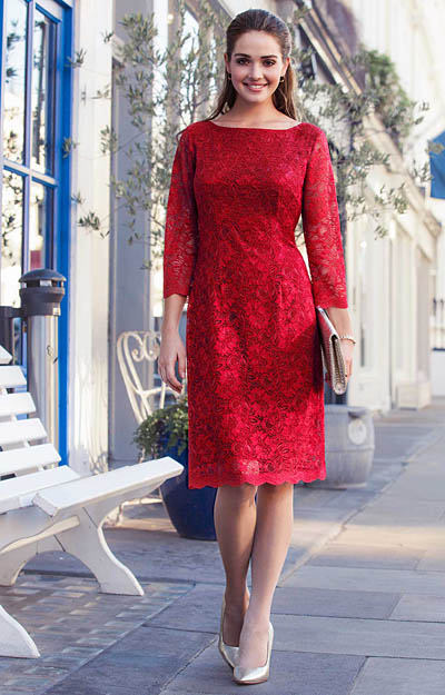Katherine Lace Occasion Dress Scarlet by Alie Street