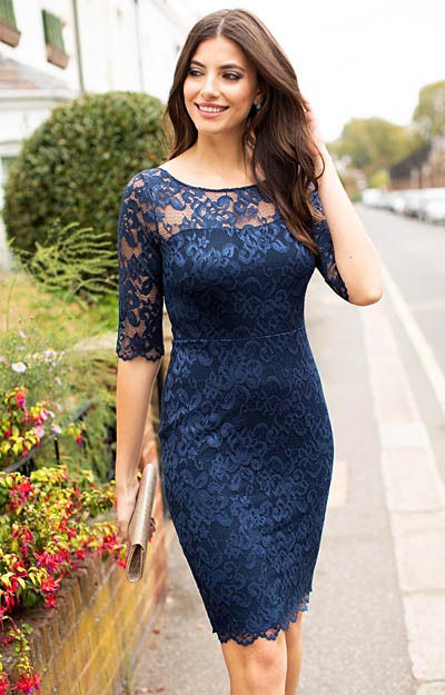 Lila Lace Dress Navy by Alie Street