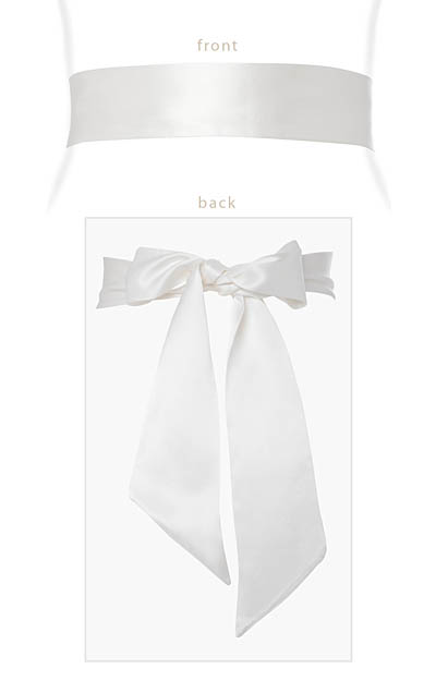 Faux Silk Sash Long Ivory by Alie Street