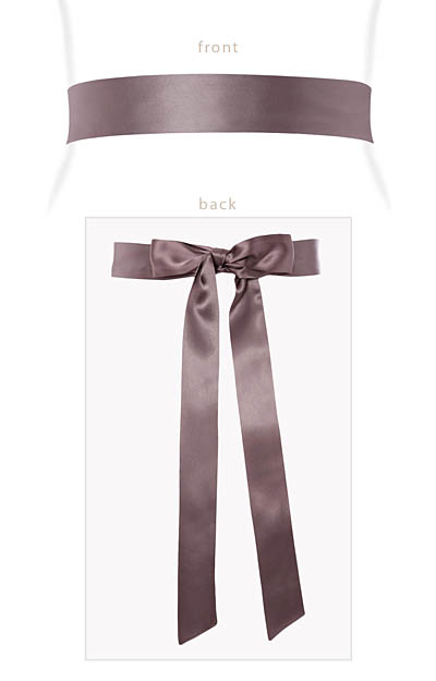 Smooth Satin Sash Slim Dove Grey by Alie Street