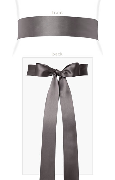 Smooth Satin Sash Long Charcoal by Alie Street