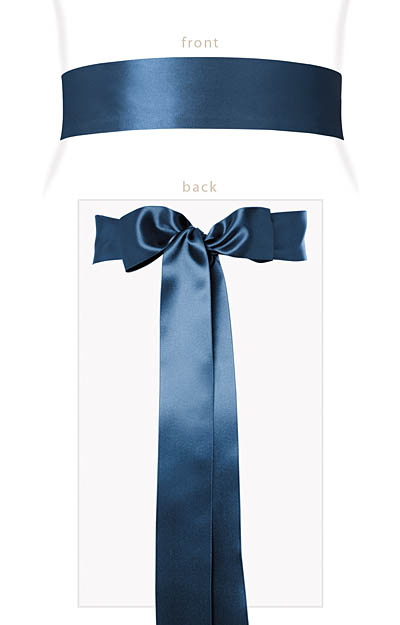 Smooth Satin Sash Long Lagoon Blue by Alie Street