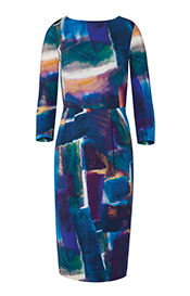Emily Shift Day Dress Painterly Blue