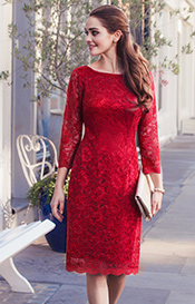 Katherine Lace Occasion Dress Scarlet