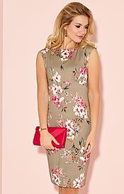 Pippa Shift Day Dress Floral Olive