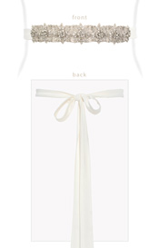 Constellation Bridal Sash Ivory Silk Tails