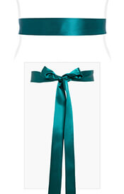Smooth Satin Sash Slim Dark Teal