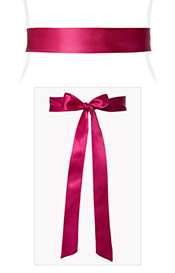 Smooth Satin Sash Slim Fuchsia Pink