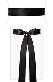 Smooth Satin Sash Long Black